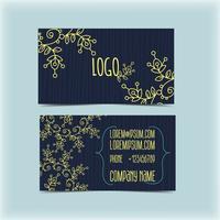 Visitenkarte mit Blumenverzierung, Monogramm