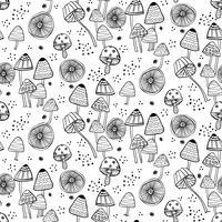 Nahtloses Muster mit Fantasiepilzen.