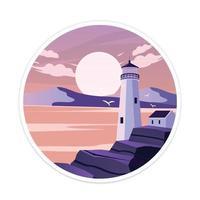 Landschaftsleuchtturm im Meer mit Hausvektorillustration vektor