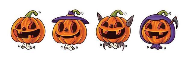 Fröhliches Halloween. Cartoon-Serie von niedlichen Kürbislaternenfiguren mit lustigem Gesichtsausdruck und Halloween-Kostümen. Maskottchen gesetzt. vektor
