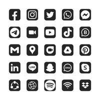 Satz von monochromen Social Media-Logos im quadratischen schwarzen Hintergrund vektor