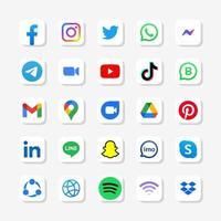 Set aus quadratischem Social-Media-Logo in weißem Hintergrund vektor