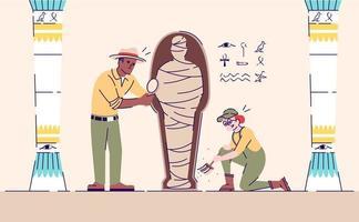 Wissenschaftler erforschen die flache Vektorillustration der Mumie vektor