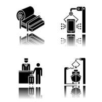 Industrietypen Schlagschatten schwarze Glyphe Icons Set vektor