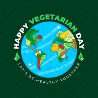 Vektorgemüse in die Anordnung der Kontinente in einem Globus - vegetarischer Welttag vektor