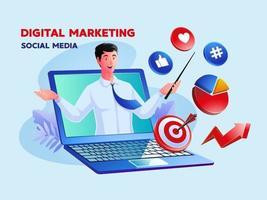 Social Media für digitales Marketing mit einem Mann und einem Laptop-Symbol vektor