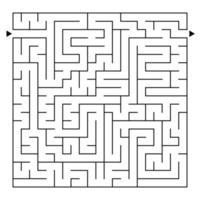 abstraktes komplexes quadratisches isoliertes Labyrinth. schwarze Farbe auf weißem Hintergrund. ein interessantes Spiel für Kinder und Erwachsene. einfache flache vektorillustration. vektor