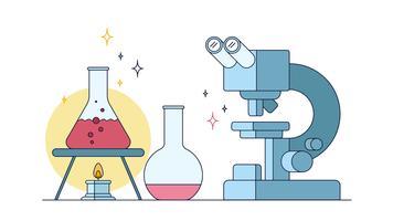 Mikroskop-Experimentiervektor vektor
