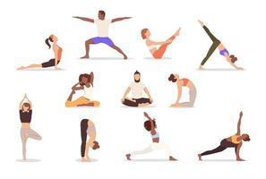 Satz von Posen Frau und Mann Yoga. Sammlung von multikulturellen Menschen, die Yoga machen, isoliert auf weißem Hintergrund. Vektor-Illustration, eps 10 vektor