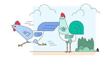 Laufen Sie Huhn Läuft Vektor