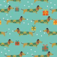Weihnachten nahtlose Muster mit Dackel Schneeflocken Geschenke vektor