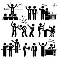 Glücklicher Chef, der Mitarbeiter-Strichmännchen-Piktogramm-Ikone belohnt vektor
