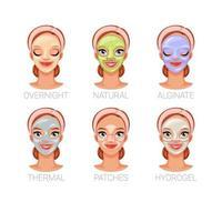 Frau mit verschiedenen Schönheits-Hautpflegemasken-Vektorillustrationen vektor