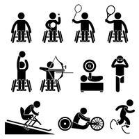 Deaktivieren Sie Handicap Sport Paralympic Games Strichmännchen Piktogramme.