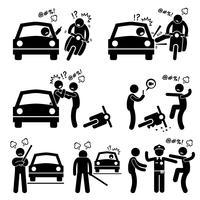 Road Bully Driver Rage Strichmännchen Piktogramme Symbole.