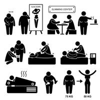 Slimming Center Fat Overweight Woman Treatment Skönhet Spa Stick Figur Pictogram Ikon. vektor
