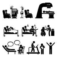 Krankenhaus-medizinische Therapie-Behandlungs-Strichmännchen-Piktogramm-Symbol Cliparts.