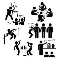 Party-Freizeitspiele-Strichmännchen-Piktogramm-Ikone Clipart. vektor