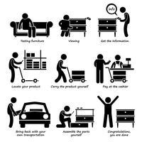 Kaufen Sie Möbel im Selbstbedienungsladen Schritt für Schritt Strichmännchen Piktogramme.