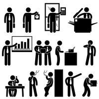 Affär Affärsman Arbetstagare Arbetstagare Kontor Kollegi Arbetsplats Arbetande Ikon Symbol Tecken Pictogram. vektor