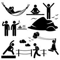 Mann-Frau-gesundes Leben entspannender Wellness-Lebensstil-Strichmännchen-Piktogramm-Ikone. vektor
