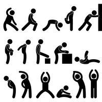 Mann-athletische Übung, die Symbol-Piktogramm-Ikone ausdehnt.