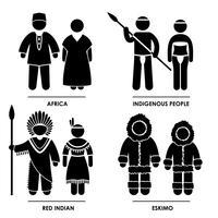 Afrika Röd Indisk Eskimo Man Kvinna Nationell Traditionell Kostym Klä Kläder Ikon Symbol Sign Pictogram.