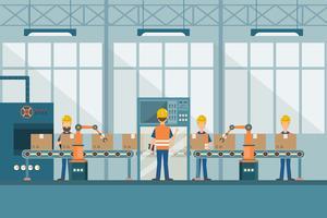 smart industrifabrik i en platt stil