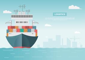 Logistik för sjötransporter vektor