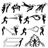 Kung Fu Kämpfer Super Human Special Power Mutant Strichmännchen Piktogramm Symbol.