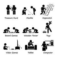 Barn som spelar traditionella och moderna spel Stick Figure Pictogram Icon Clipart.