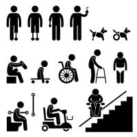 Amputierte Handicap Disable Man Werkzeugausstattung Strichmännchen Piktogramm Symbol. vektor
