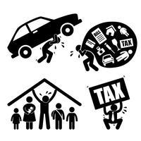 Mann-Familien-Finanzproblem-Belastung Druck-Druck-Krisen-Ikonen-Symbol-Zeichen-Piktogramm.