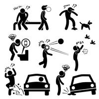Olycklig Man Dålig Lycklig Folk Karma Stick Figur Pictogram Ikon. vektor