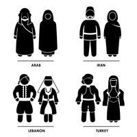 Västra Asien Traditionella Kostymkläder .. vektor