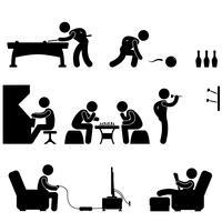 Club Indoor-Aktivität Snooker-Pool Bowling Schach-Videospiel. vektor