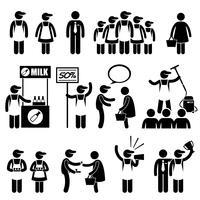 Förderer-Verkäufer-Kunden an Einkaufszentrum-Strichmännchen-Piktogramm-Ikonen.
