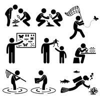 Mann-Tätigkeits-Geologe-Forschungs-Muster-Strichmännchen-Piktogramm-Ikone im Freien.