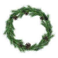 Weihnachtskranz aus Tannenzweigen mit Zapfen. Grüner Fichtenweihnachtskranz.