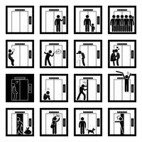 Dinge, die Leute innerhalb Aufzugs-Aufzugs-Strichmännchen-Piktogramm-Ikonen tun.