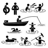 Kinder-Freizeit-Schwimmen-Fischen, das an der Fluss-Wasser-Strichmännchen-Piktogramm-Ikone spielt.