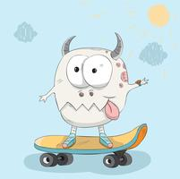 Söt lilla monster på en skateboardhandritad
