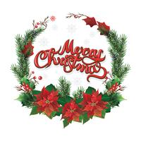 Julkrans av röd julklapp och löv. vektor illustration
