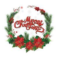 Weihnachtskranz aus roten Weihnachtsstern und Blättern. Vektor-Illustration