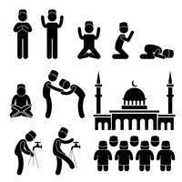 Islam Muslim Religion Kultur Tradition Strichmännchen Piktogramm Symbol. vektor