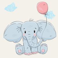 Söt liten elefanthandritad
