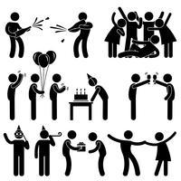 Vän Fest Firande Födelsedag Ikon Symbol Underteckna Pictogram. vektor
