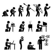 Piktogramm der menschlichen Evolution.