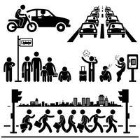 Städtisches Stadtleben-hektischer Stadtverkehrsstraßen-Verkehrs-Hauptverkehrszeit-Mann-Strichmännchen-Piktogramm-Symbol