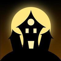 Halloween-Haus-Vektor mit Vollmond vektor